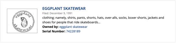 Eggplant skatewear trademark